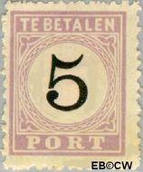 Suriname SU PT2  1886 Port 5 cent  Gestempeld