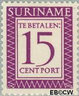 Suriname SU PT52  1956 Port 15 cent  Gestempeld