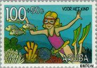 Aruba AR 206  1997 Kind en natuur 100+50 cent  Gestempeld