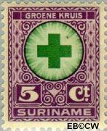 Suriname SU 128  1927 Groene Kruis 5+3 cent  Gestempeld