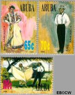 Aruba AR 175#177  1996 Klederdrachten  cent  Gestempeld