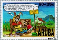 Aruba AR 185  1996 Kind en dier 50+25 cent  Gestempeld