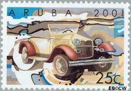 Aruba AR 266  2001 Klassieke auto's 25 cent  Gestempeld