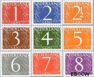 Nederland NL 460#468  1946 Cijfer type 'van Krimpen'  cent  Postfris