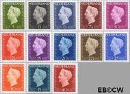 Nederland NL 474#486  1947 Koningin Wilhelmina- Type 'Hartz'  cent  Postfris