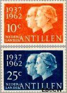 Nederlandse Antillen NA 323#324  1962 Huwelijksjubileum Juliana en Bernhard  cent  Gestempeld