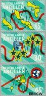Nederlandse Antillen NA 475#477  1973 Nieuwe telefoonkabel  cent  Gestempeld
