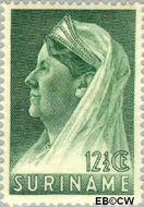 Suriname SU 168  1936 Wilhelmina met sluier 12½ cent  Gestempeld