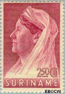 Suriname SU 178  1936 Wilhelmina met sluier 250 cent  Gestempeld