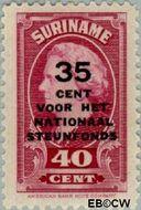 Suriname SU 218  1945 Steunfonds 40+35 cent  Gestempeld