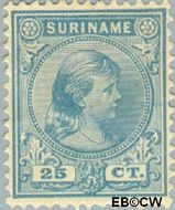 Suriname SU 27  1892 Hangend haar 25 cent  Gestempeld