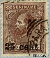 Suriname SU 37  1900 Hulpuitgifte 25 op 40 cent  Gestempeld