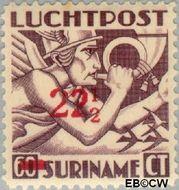 Suriname SU LP24  1945 Opdruk 22½ op 60 cent  Gestempeld