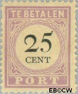 Suriname SU PT13  1892 Port 25 cent  Gestempeld