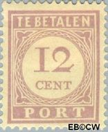 Suriname SU PT23  1913 Port 12 cent  Gestempeld