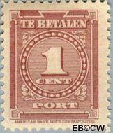 Suriname SU PT33  1945 Port 1 cent  Gestempeld
