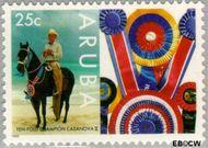 Aruba AR 156  1995 Paardensport 25 cent  Gestempeld