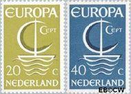 Nederland NL 868#869  1966 C.E.P.T.- Scheepje  cent  Gestempeld
