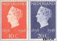 Nederland NL 504#505  1948 Koningin Wilhelmina- Regeringsjubileum   cent  Gestempeld