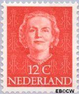 Nederland NL 522  1951 Koningin Juliana- Type 'En Face' 12 cent  Gestempeld