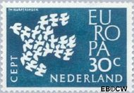 Nederland NL 758  1961 C.E.P.T.- Duiven in vlucht 30 cent  Gestempeld