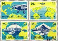 Nederlandse Antillen NA 307#310  1959 Luchtverbinding Nederland  cent  Gestempeld