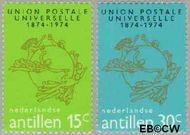 Nederlandse Antillen NA 495#496  1974 Wereldpostvereniging  cent  Gestempeld