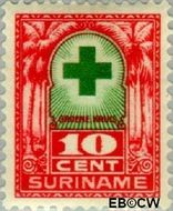 Suriname SU 129  1927 Groene Kruis 10+3 cent  Gestempeld