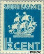 Suriname SU 159  1936 Scheepje 1½ cent  Gestempeld