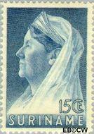 Suriname SU 169  1936 Wilhelmina met sluier 15 cent  Gestempeld