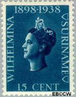 Suriname SU 189  1938 Regeringsjubileum Wilhelmina 15 cent  Gestempeld