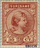 Suriname SU 28  1892 Hangend haar 30 cent  Gestempeld