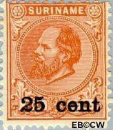 Suriname SU 38  1900 Hulpuitgifte 25 op 50 cent  Gestempeld