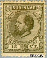 Suriname SU 8  1889 Eerste emissie 15 cent  Gestempeld