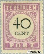 Suriname SU PT14  1892 Port 40 cent  Gestempeld