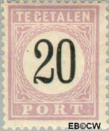Suriname SU PT4  1886 Port 20 cent  Gestempeld