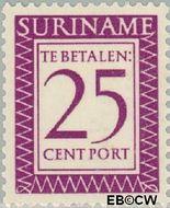 Suriname SU PT54  1956 Port 25 cent  Gestempeld