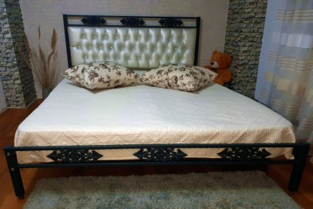 Pat dormitor tapitat Alb César, tapiterie piele ecologica 180x200 cm