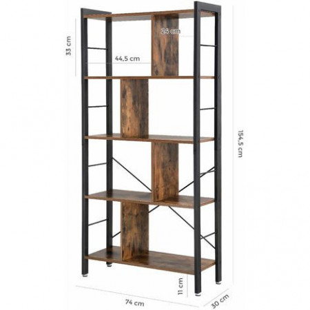 Biblioteca , raft living industrial design cu 4 nivele, 74 x 30 x 154,5 cm