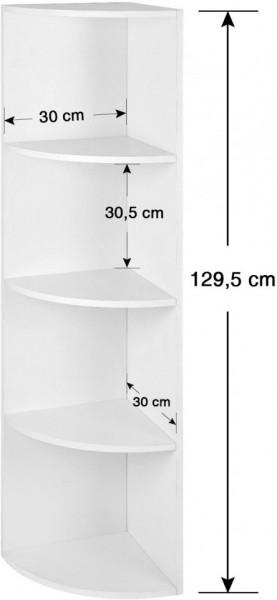 Raft de colt cu 4 etaje , Alb 30 x 30 x 129.5 cm