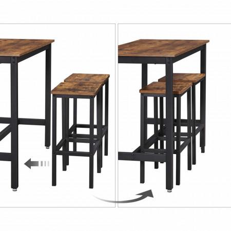 SET Masa cu 2 scaune bar, Vintage, Dark Brown