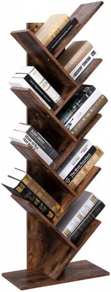 Raft pentru carti zig-zag, biblioteca cu 8 etajere Retro Rustic