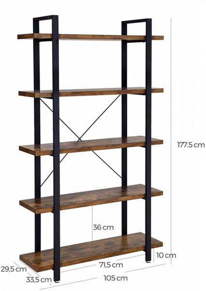 Biblioteca ,Raft depozitare 5 polite ,Stil Industrial Maro Rustic 105 x 33.5 x 177.5 cm (L x W x H)