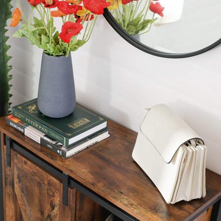 Dulap depozitare cu rafturi si usa glisanta Stil Industrial Retro Brown