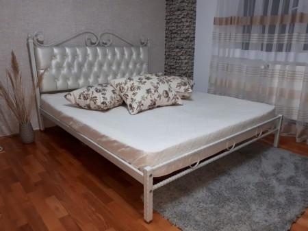 Pat dormitor tapitat Charme, fier forjat cu tapiterie piele ecologica 160 x 200 cm