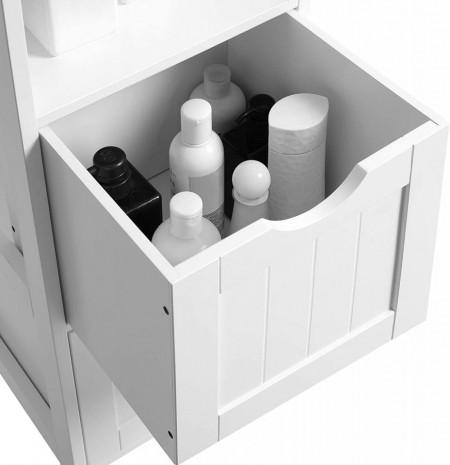 Dulap înalt pentru baie cu 2 sertare și 3 compartimente