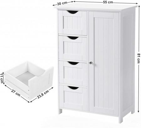 Dulap pentru baie STEFIART, MDF, 55 x 30 x 81 cm, Alb