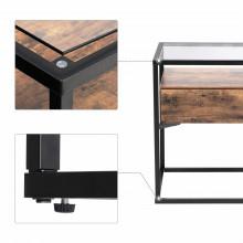 Noptiera, masuta living, Industrial Design , blat sticla 43 x 43 x 54 cm (L x l x l)
