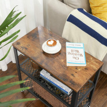 Masa laterala cafea Rustic Brown 2 polite, 60 x 30 x 60 cm (L x l x l)