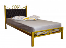 Pat matrimonial cu tapiterie Chesterfield piele eco 160x200cm, Golden Black